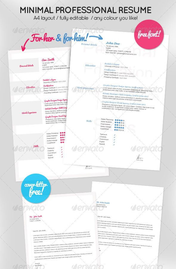 minimal resume for her  u0026 him   cover letter
