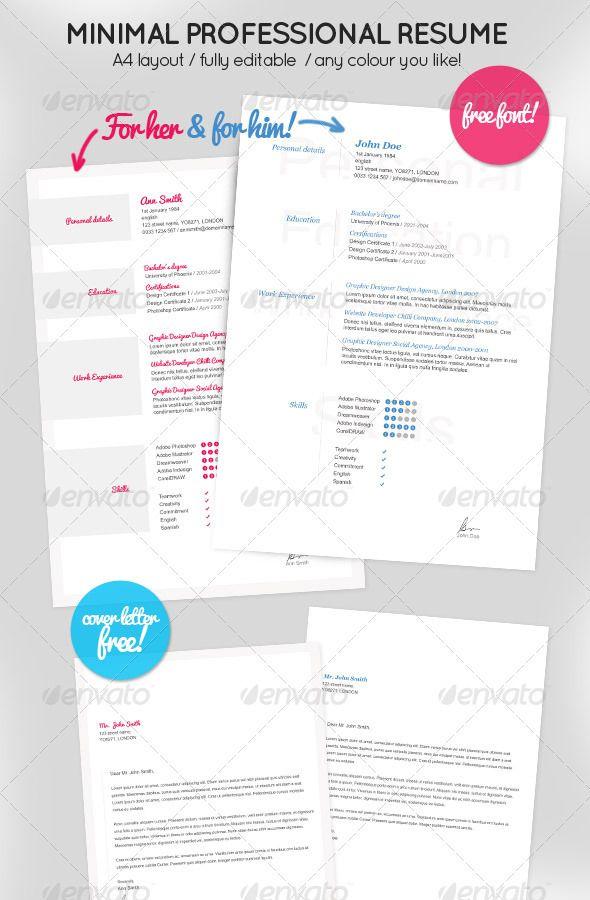 Minimal Resume for Her \ Him + Cover letter Resume cover letters - accounting job cover letter