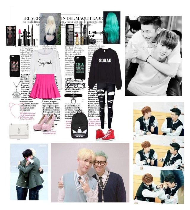 """""""Jin and Rap Monster BFF"""" by bulletproof-wolfie ❤ liked on Polyvore featuring WithChic, Converse, Disney, Rodial, MAC Cosmetics, Marc Jacobs, Smith & Cult, Topshop and Yves Saint Laurent"""