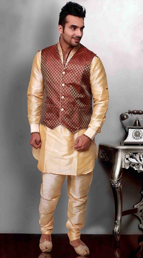 b00e5c15c41 Golden Cream Art Silk Red Nehru Jacket Style Kurta Pyjama