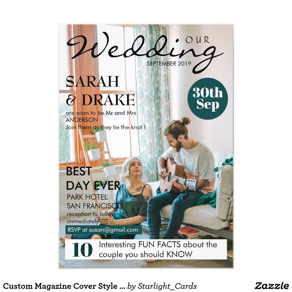 Custom Magazine Cover Style Photo Wedding Invitation Zazzle Com In 2020 Photo Wedding Invitations Magazine Wedding Program Wedding Magazine Cover