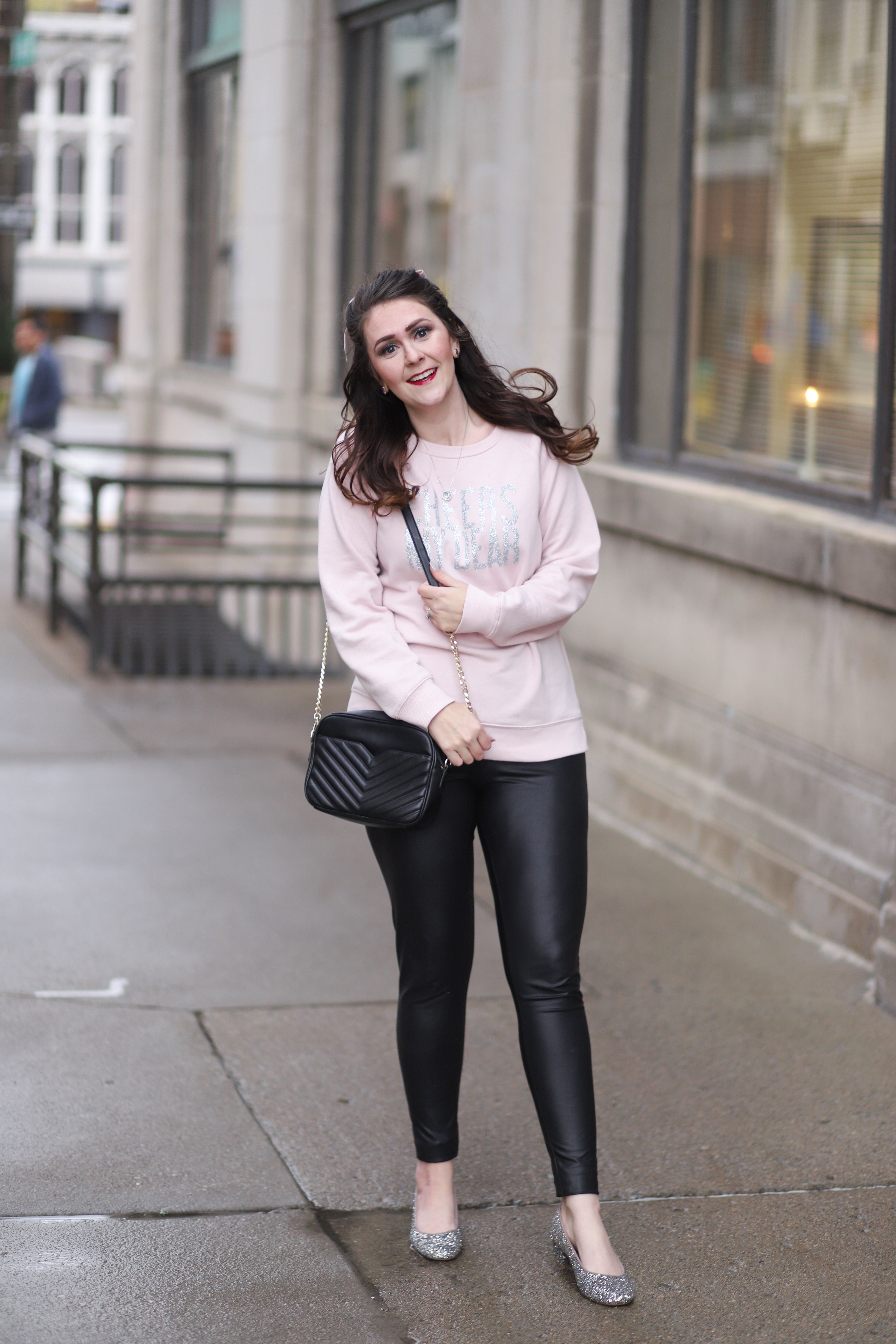 6ed9d4c3c85 Cozy New Year s Eve Outfit  Glitter Sweatshirt with Faux Leather Leggings +  H54F Linkup