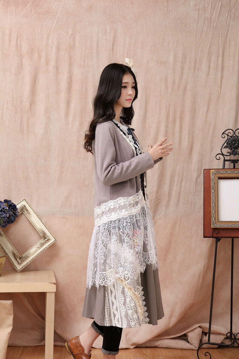 Mori Girl Knit Lace Patchwork Long Cardigan