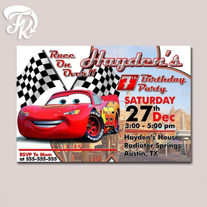 Lightning Mcqueen Cars Movie Birthday Party Card Digital – Lightning Mcqueen Birthday Card