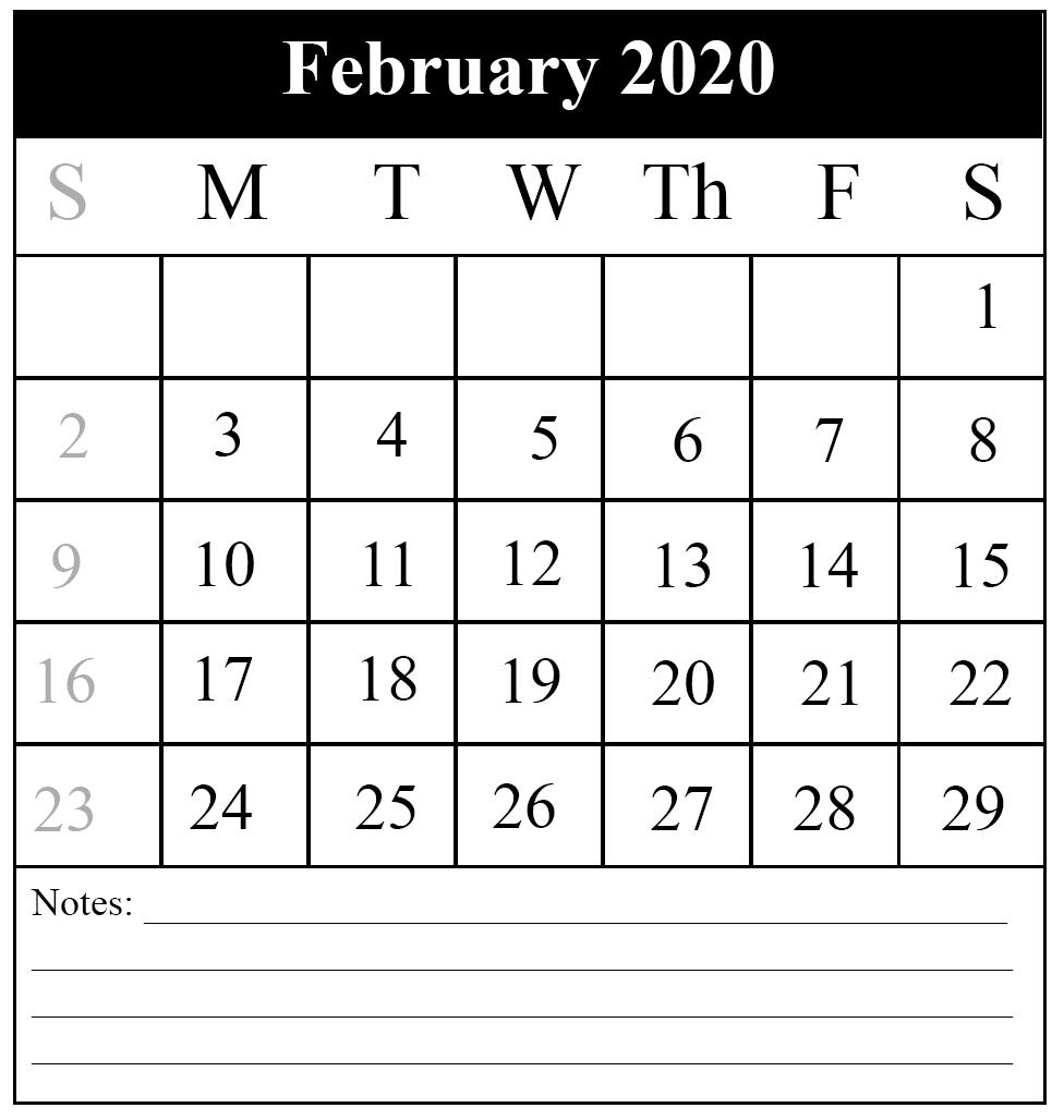 February 2020 Calendar PDF In A Large Paper