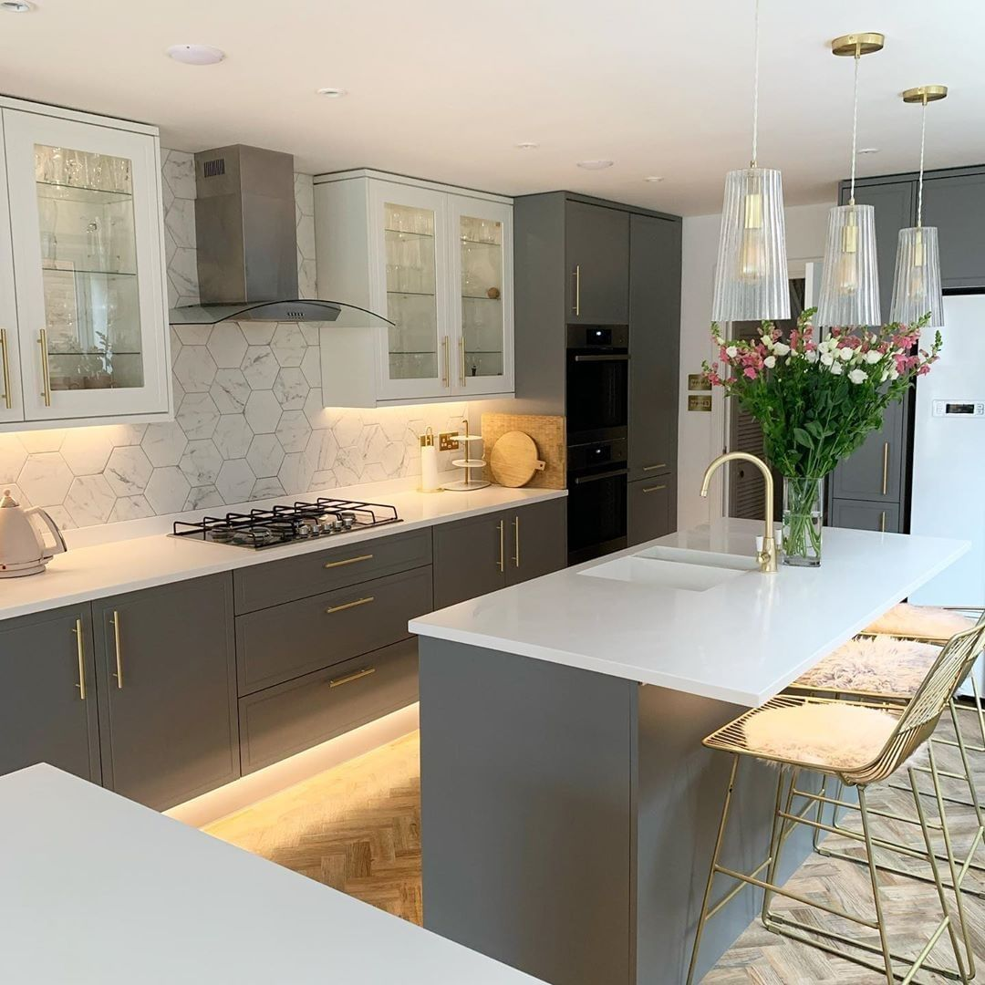 What A Combo Add Depth To Your Kitchen By Combining Our Lewes Slate Grey And Lewes Whi In 2020 Modern Kitchen Design Grey Modern Grey Kitchen Modern Kitchen Design