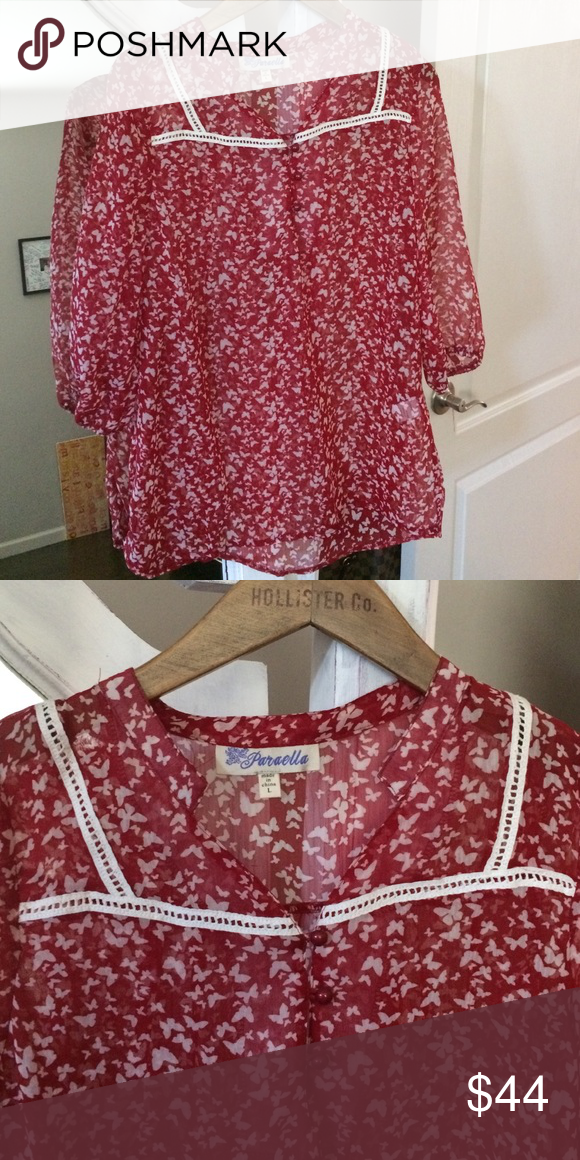 Flowy and girly Wonderful sheer top. Great red color goes with with so many outfits. 3/4 sleeve. From Francesca's. Butterfly print Francesca's Collections Tops Blouses