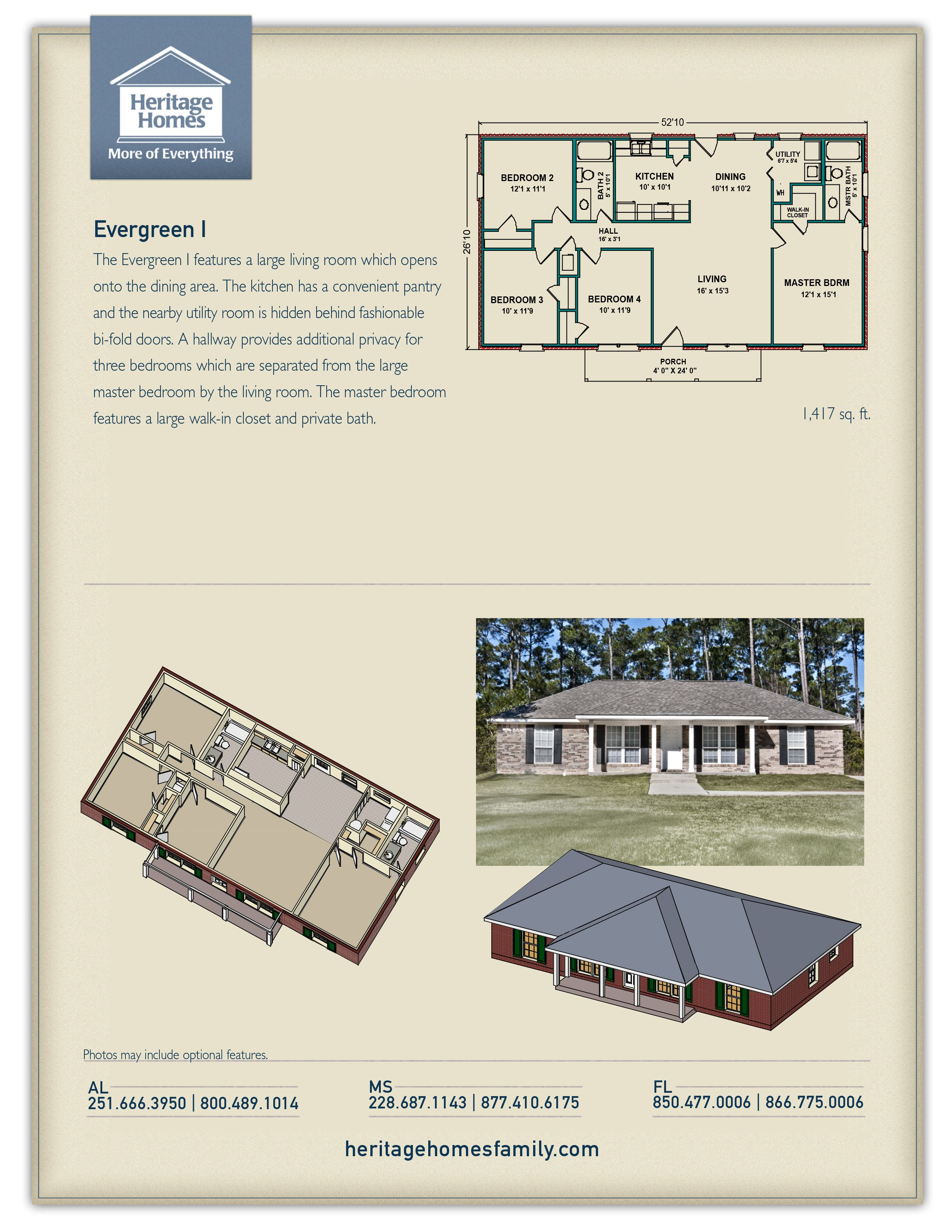 Heritage Homes Evergreen I Floor Plan Floor Plans How To Plan 4 Bedroom House Plans
