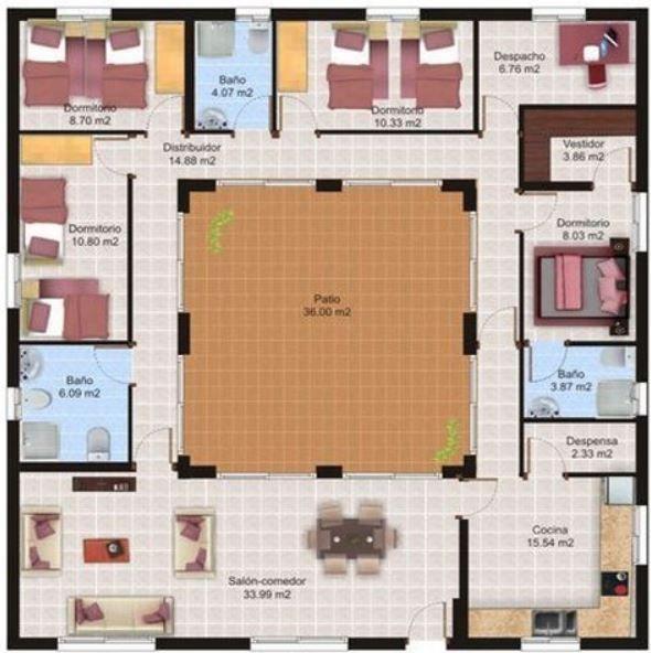 Fotos-casas-minimalista-con-patio-interno-y-modernas-de-una-sola - Plan Architecture Maison 100m2