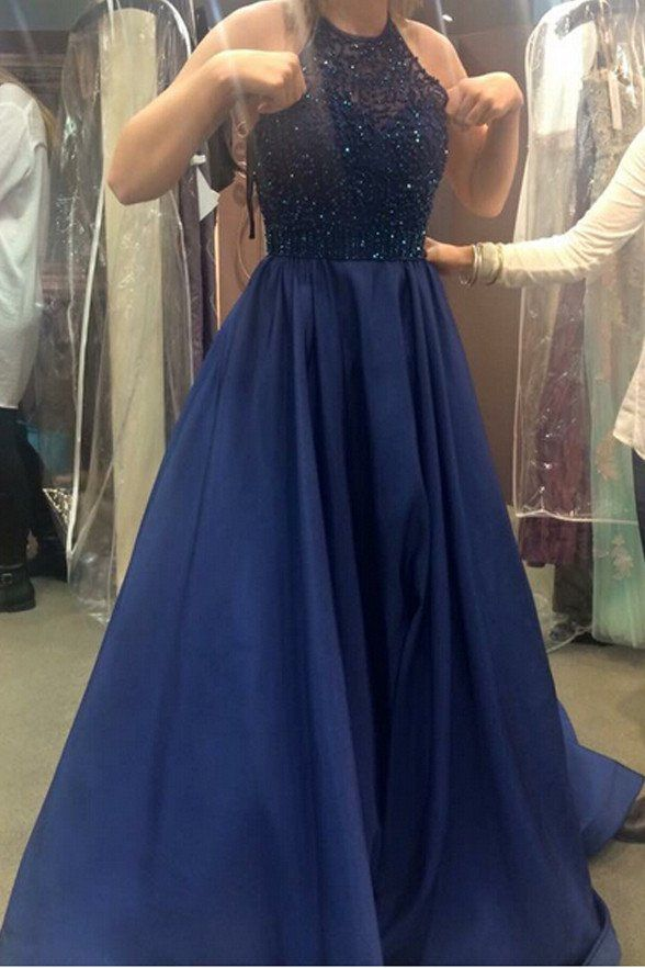 d5bef9ae56d Rhinestones Navy Blue Halter Prom Dresses Ball Gown Evening Dress 2017 LD193