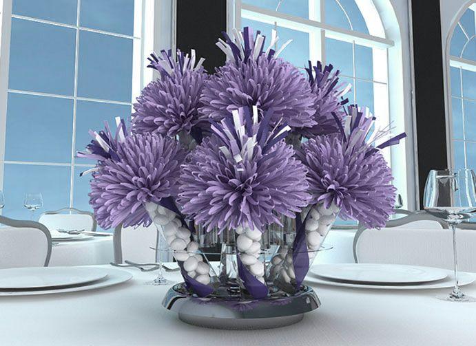 birthdaypartytablecenterpieceideas purple and white birthday centerpieces