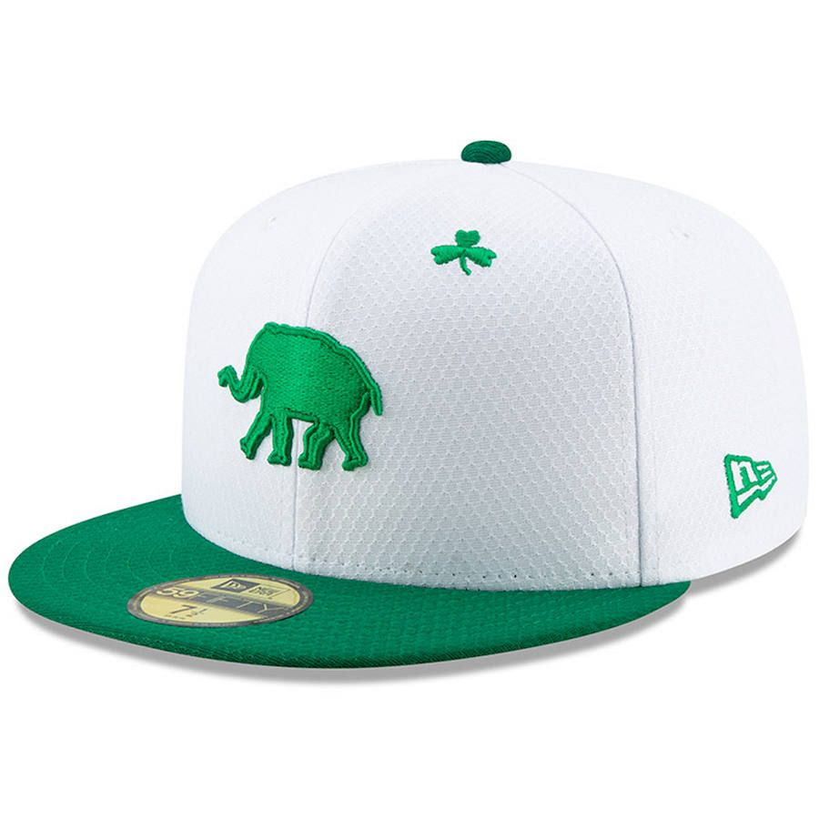 f40dbefc85c Men s Oakland Athletics New Era White Kelly Green 2019 St. Patrick s Day  On-Field 59FIFTY Fitted Hat