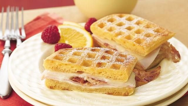 Classic Monte Cristos are updated for two with waffles sauteed until golden brown and layered with cheese, ham and turkey.