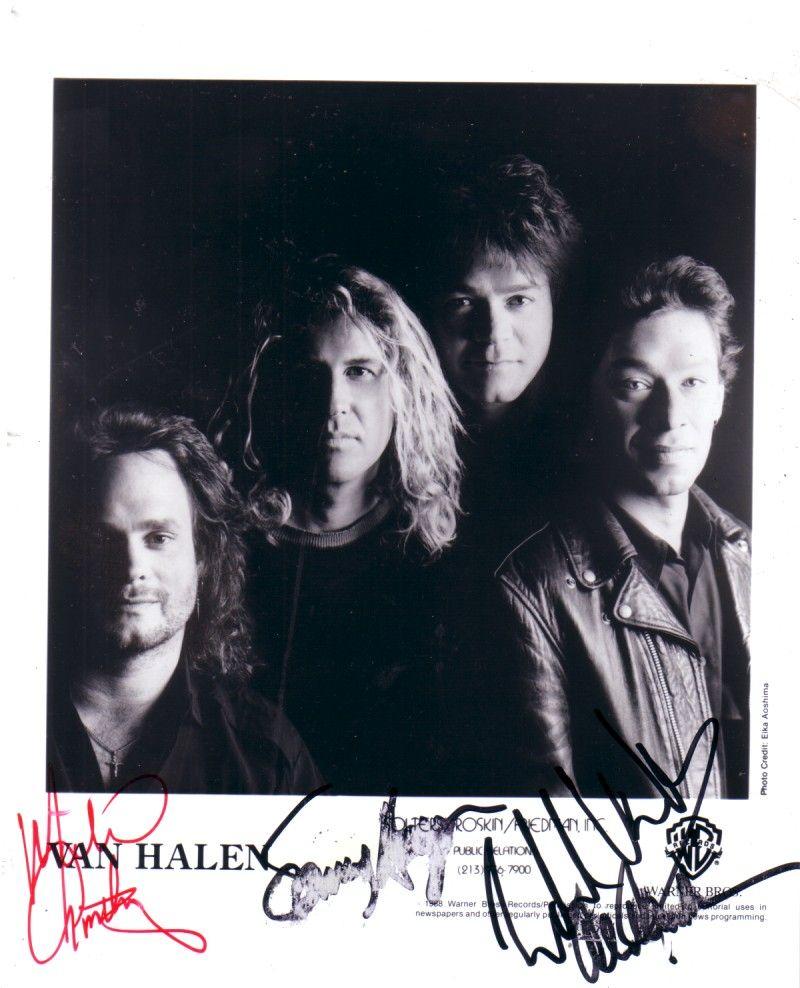 Van Halen Autographed 8x10 Photo Michael Anthony Sammy Hagar Alex Van Halen Eddie Van Halen Van Halen Eddie Van Halen Halen