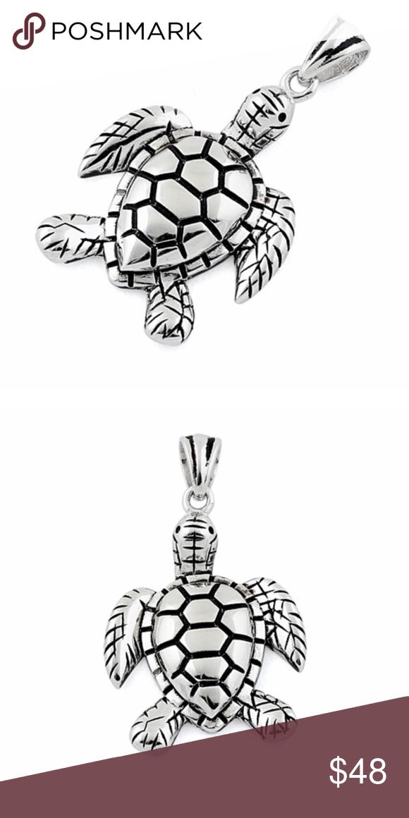Sterling silver sea turtle pendant turtle sterling silver and sterling silver sea turtle pendant aloadofball Choice Image