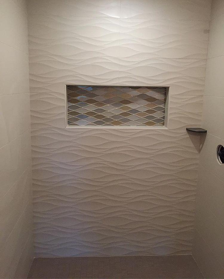 Custom Shower With 3d Wave Tile Alacrity Custom Tile Tilegeeks Tilework Remodel Tileshower Bathroom Shower Walls Shabby Chic Bathroom Remodel Bedroom