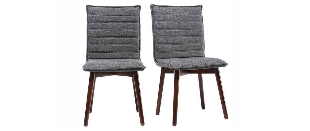 Chaise design tissu gris anthracite pieds bois foncé lot de 2 IZAL - peinture bois et fer