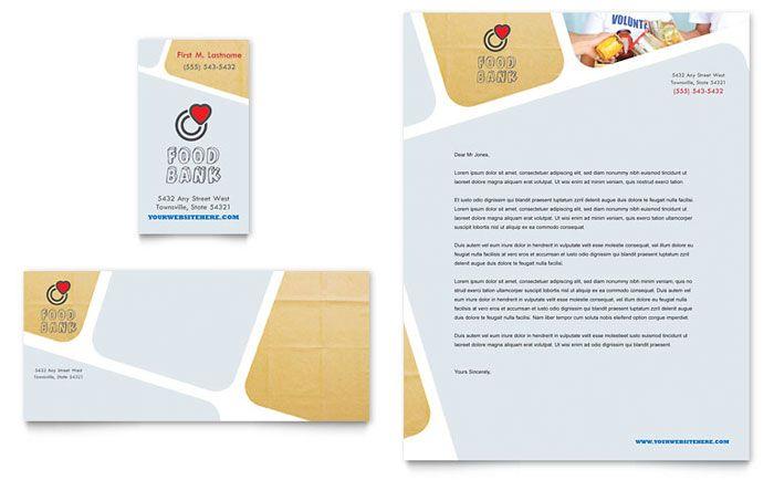 Food Bank Volunteer Business Card Letterhead Template Design Letterhead Design Letterhead Template Business Card Template