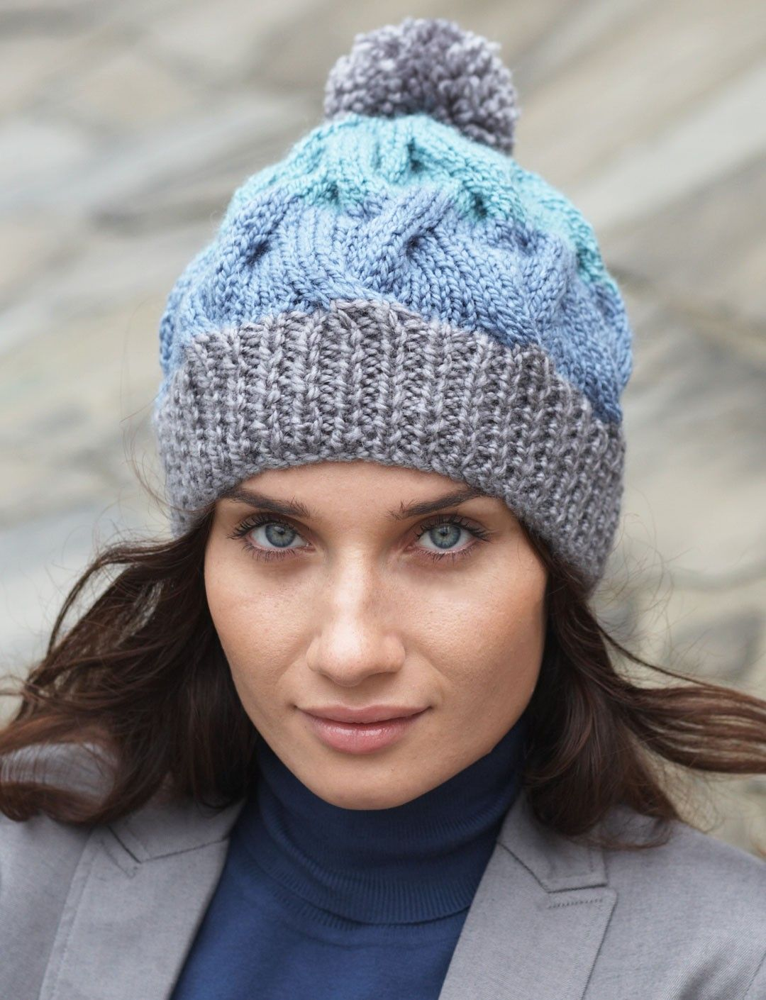 Yarnspirations.com - Patons Striped Cable Hat - Patterns ...