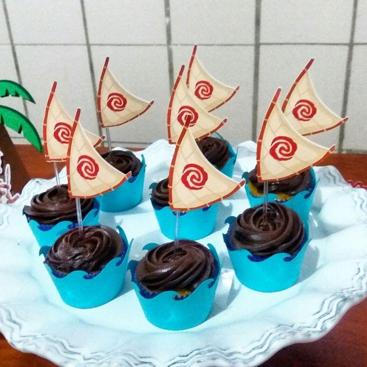 Wrapper e toppers para mini Cupcake. Barco Moana. Festa Moana.