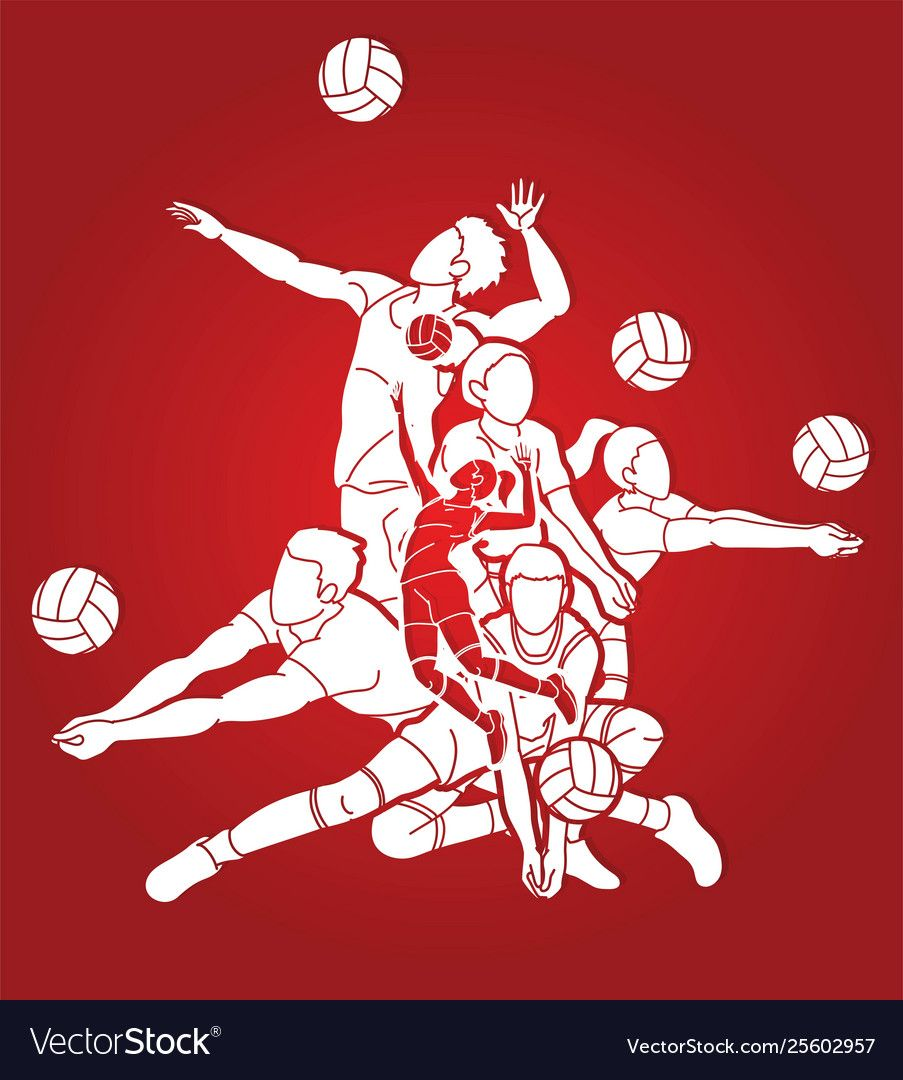 Group Volleyball Players Action Cartoon Graphic Vector Image Affiliate Players Action Group Volleyball Running Cartoon Horse Cartoon Cartoons Vector