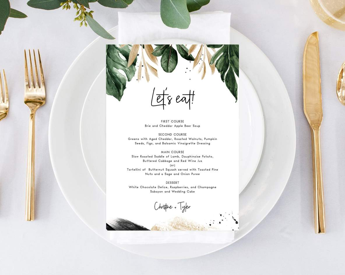 Tropical Wedding Menu Template, Printable Wedding Menus, Palm Leaves Wedding Menu, Instant Download Editable Template, Templett, W44 #weddingmenutemplate Tropical Wedding Menu Template, Printable Wedding Menus, Palm Leaves W | paperandthings #weddingmenutemplate