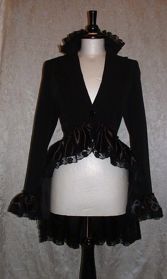 BLACK BUSTLE JACKET steampunk burlesque goth by darkestdreams, $100.00