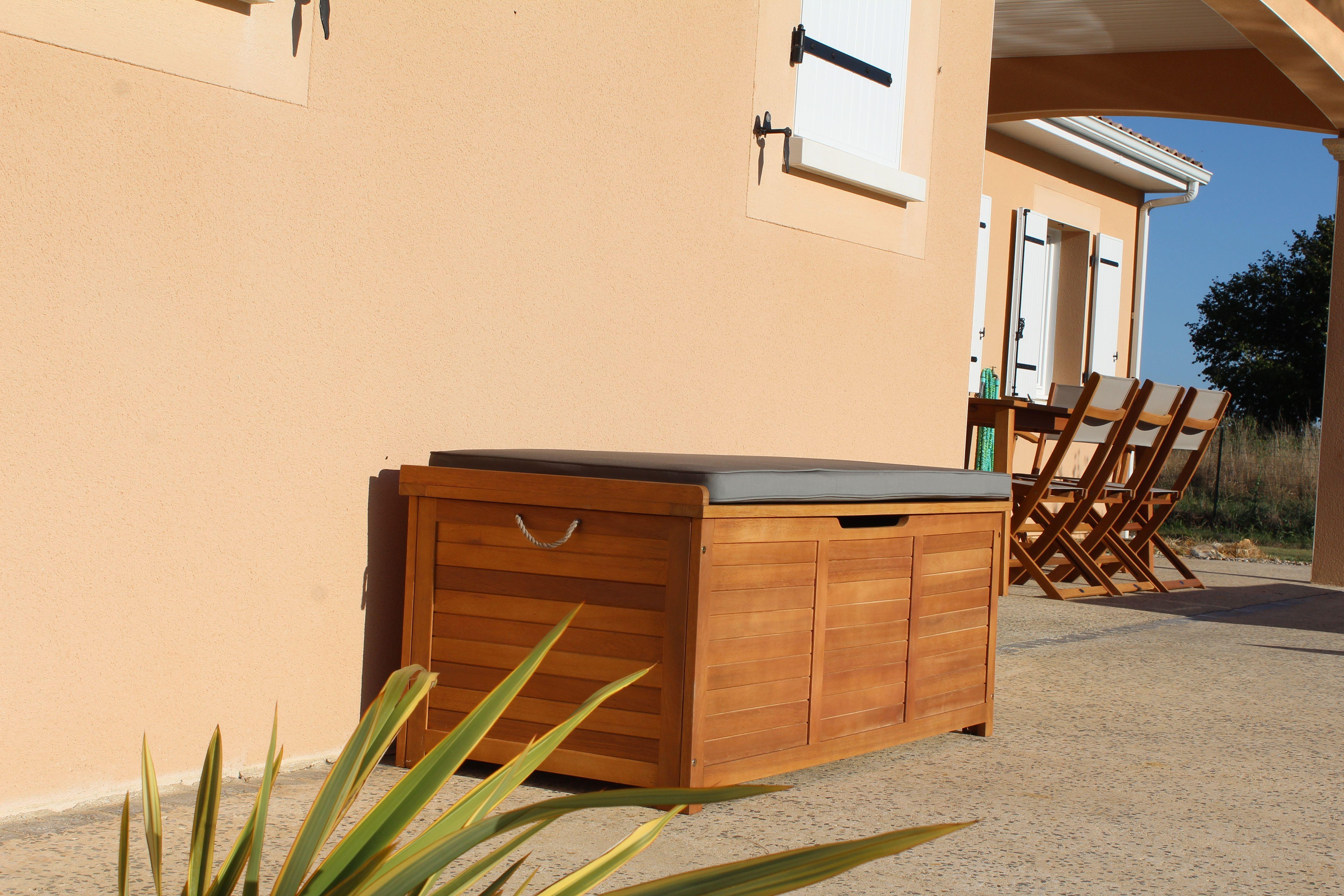 Coffre A Coussin Exterieur caja : coffre de jardin en bois 125x60cm alice's garden