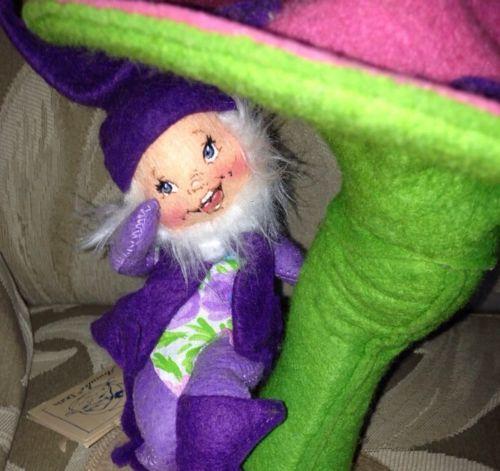 Annalee Vintage Mobilitee Dolls 1991 Purple Elf with Mushroom 9 ...