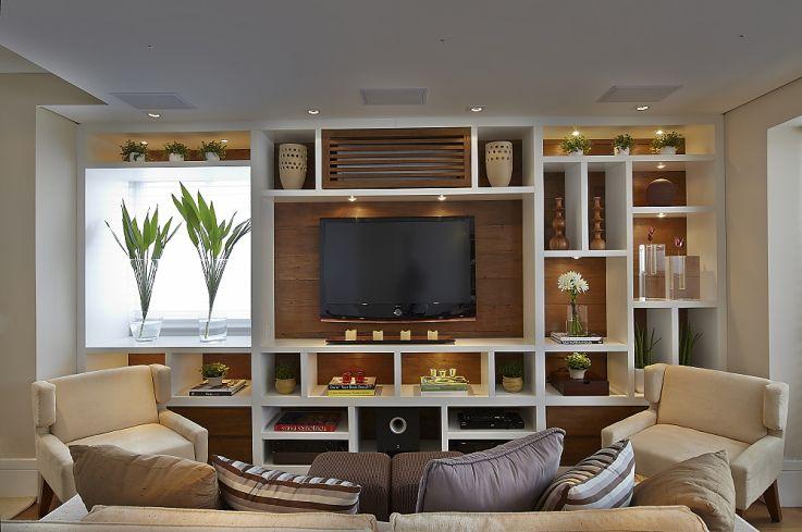sala de tv painel para televis o estantes home