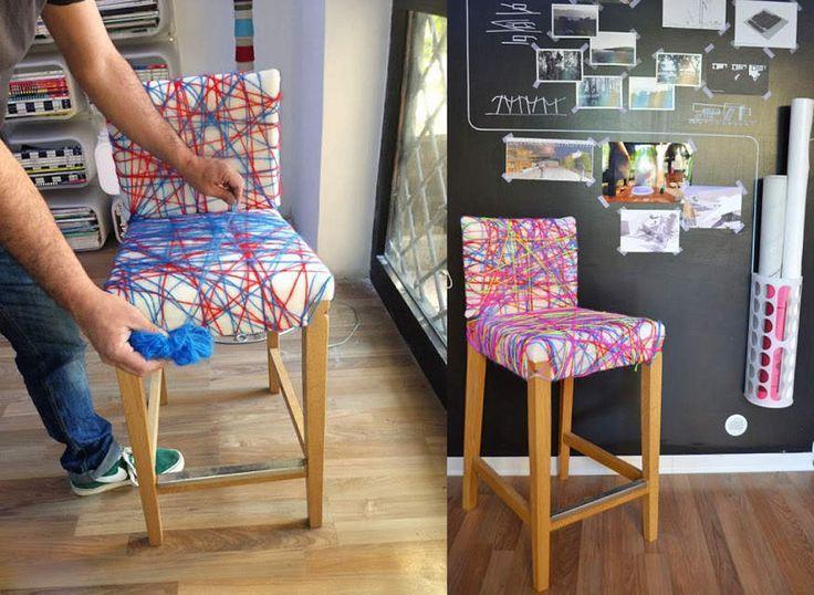 Idea para decorar una silla decoraci n pinterest - Telas tapizar sillas ...