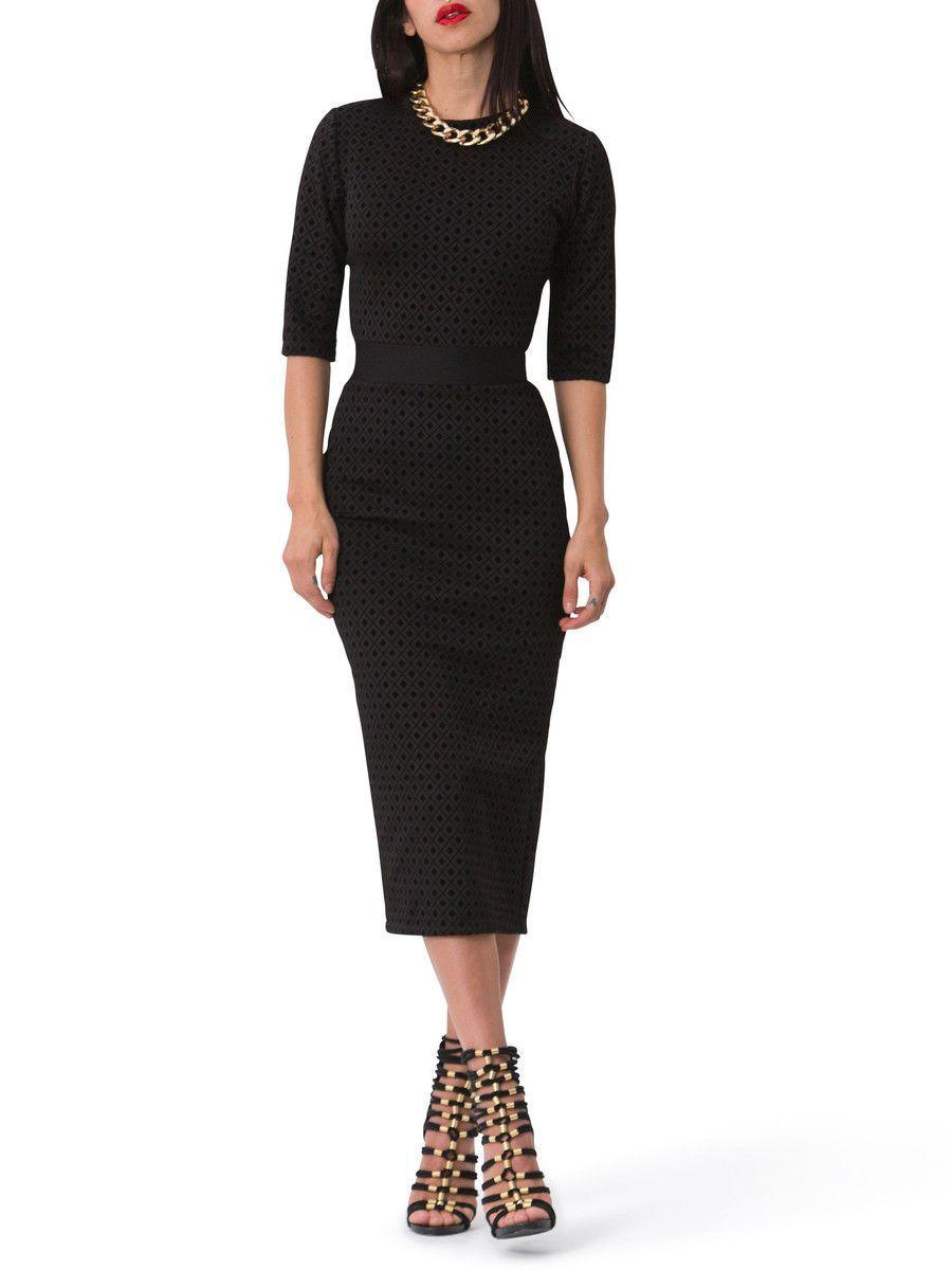 Angelina contrast waist diamond print dress black pinterest