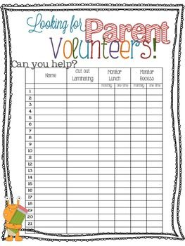 Parent volunteer form for orientation open house school for Back to school sign in sheet template