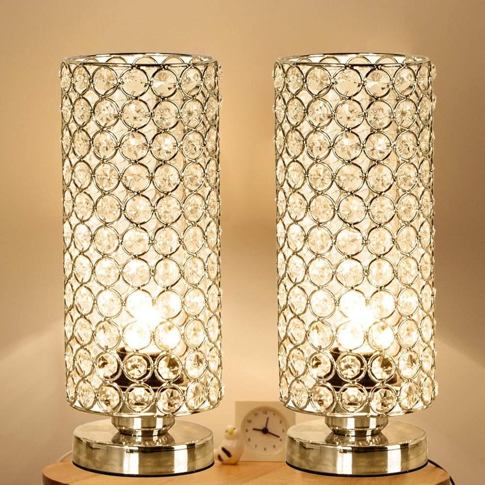 Focondot Crystal Table Lamp Set Decorative Nightstand Room Lamps