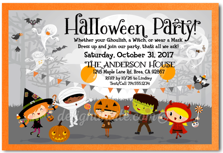 child friendly costume halloween party invitations, costume party, Party invitations