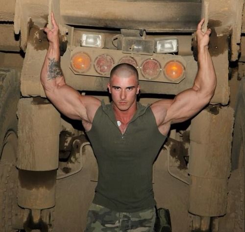 Gay military muscle man