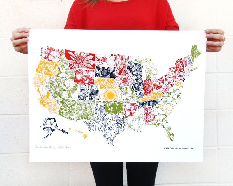 State Flower Collection 18 X 24 Usa Screen Print By Thimblepress