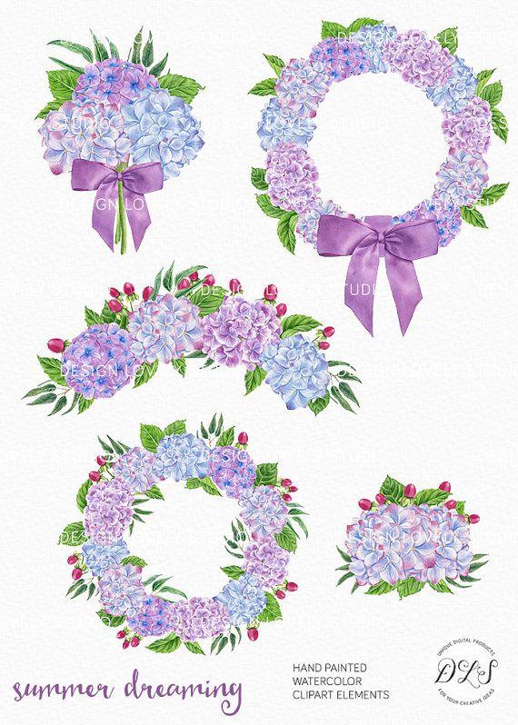 Watercolor Flower Clipart, Wedding Clipart, Flower Bouquets Clipart ...