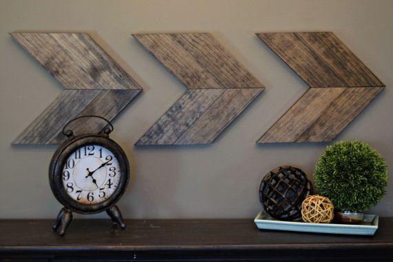 Wood Arrow Wall Art   Rustic   Brown   Chevron Arrows   Wall Decor   Mantle  Decor   Wedding Gift   Office Decor   Boho   Modern Farmhouse