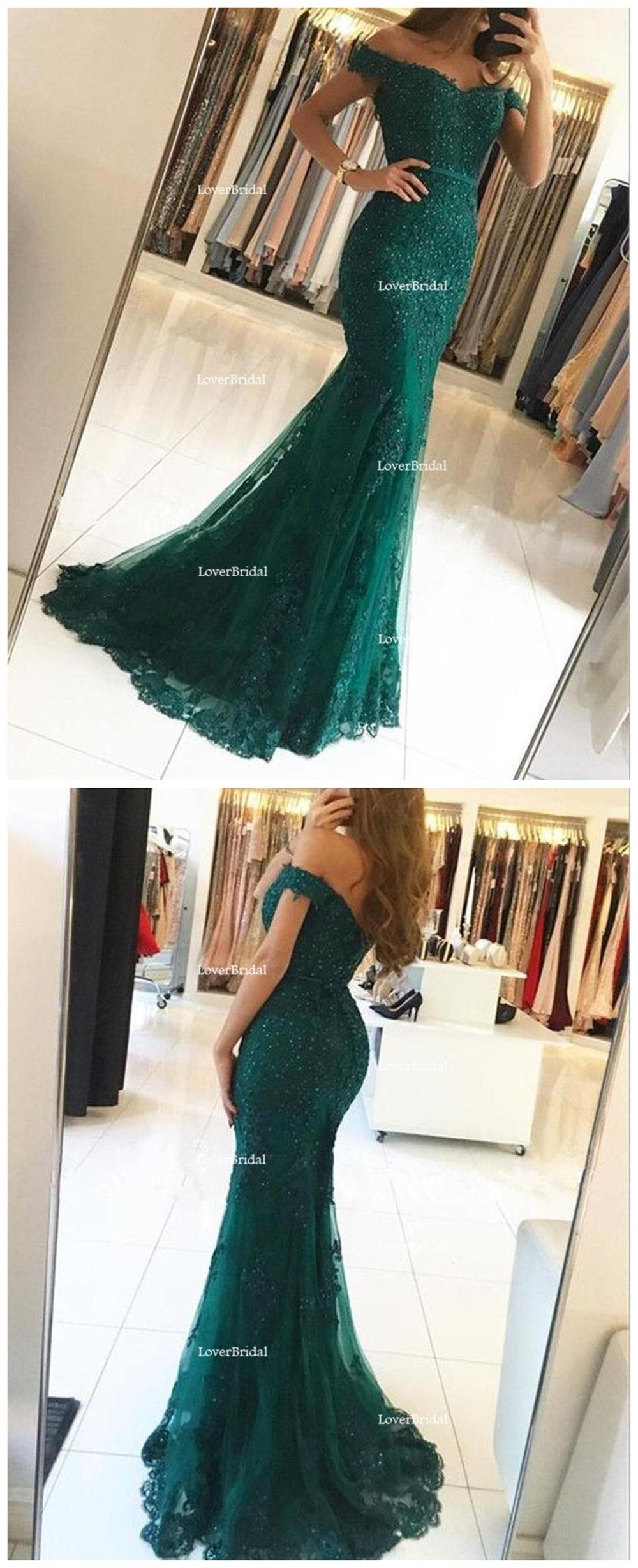 Sexy off shoulder emerald green lace beaded mermaid long evening