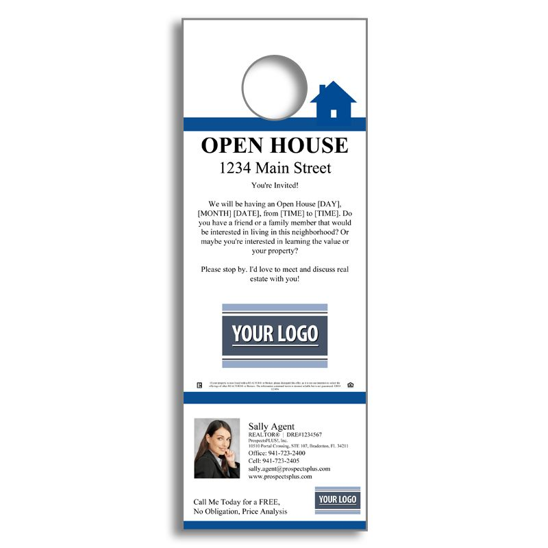 Real Estate Open House - Door Hanger Agent Marketing Products - door hanger template