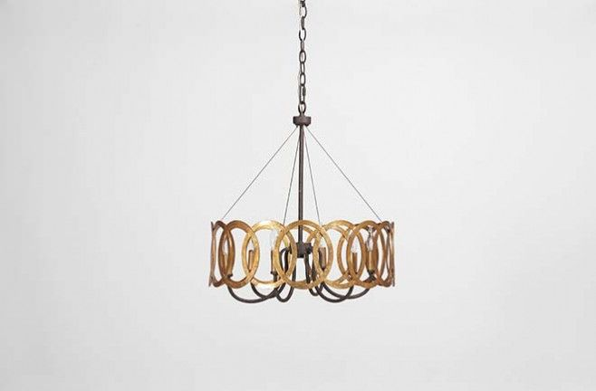 Antique Transitional Chandelier Virginia Gold Interlocking Circles Gabby  SCH 240275 W 18.5 H 22 6 Lights $497.50