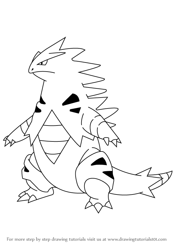 Learn How To Draw Tyranitar From Pokemon Pokemon Step By Step Drawing Tutorials Pokemon Sketch Pokemon Drawings Drawings