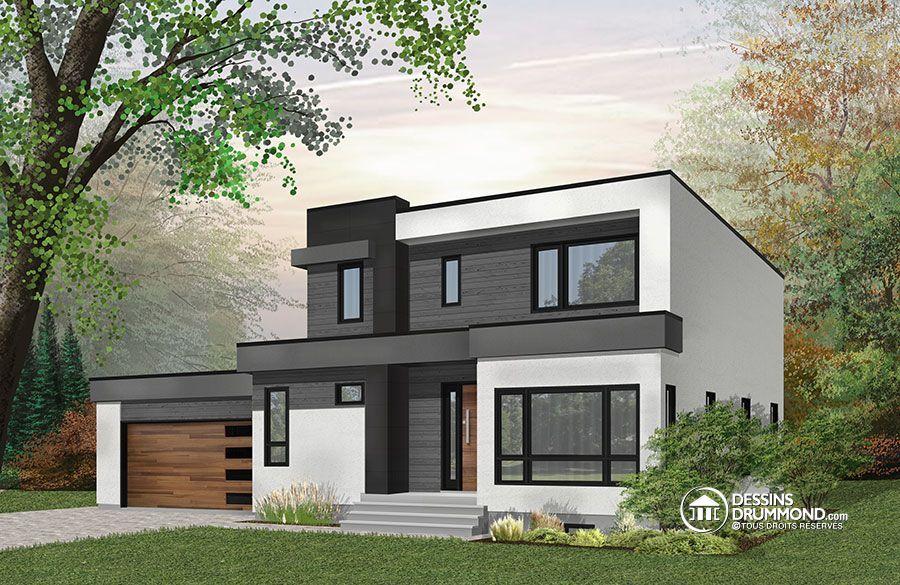 Détail du plan de Maison unifamiliale W3883-V1 Houses Pinterest - plan de maison design