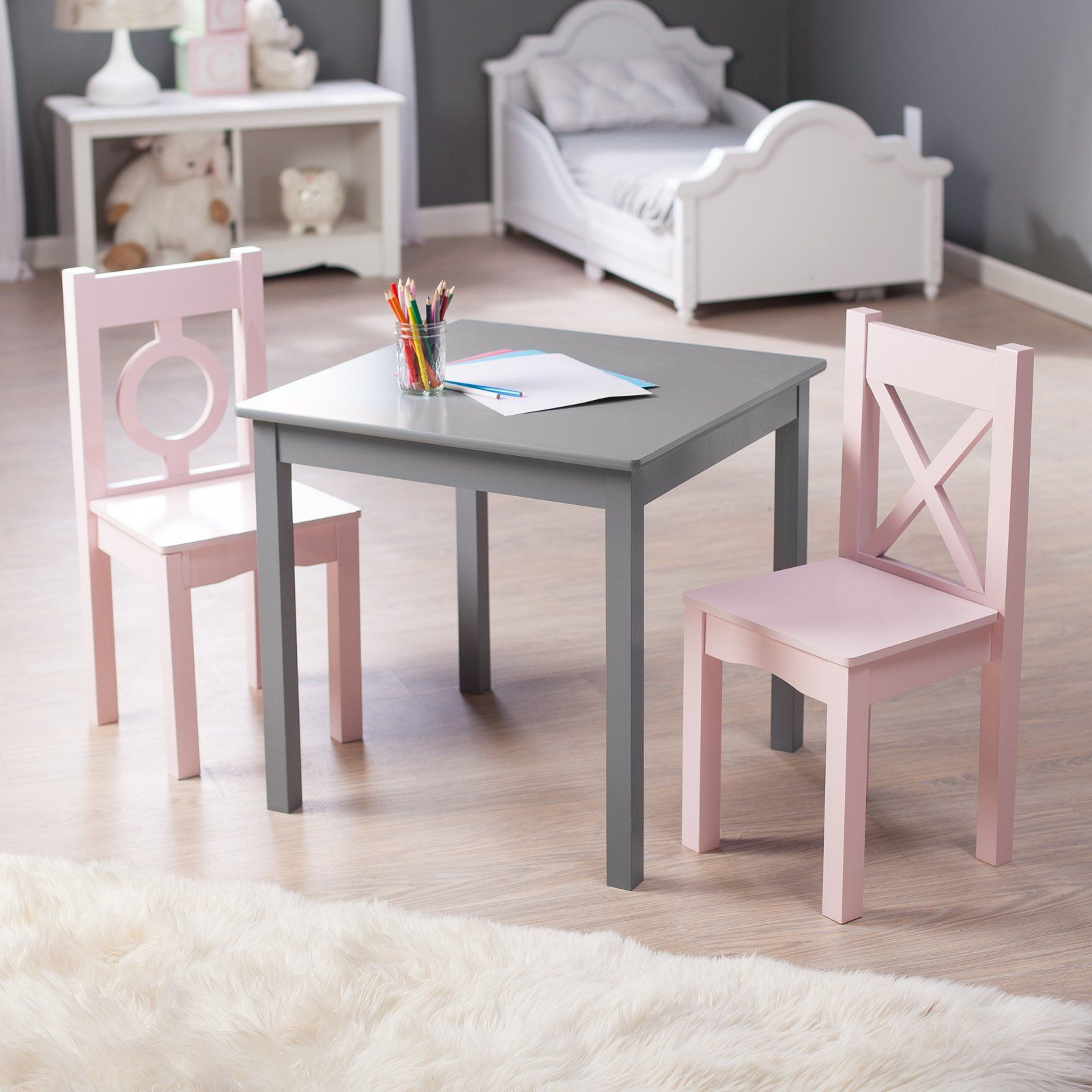 Lipper Hugs and Kisses Table and 2 Chair Set Gray & Pink