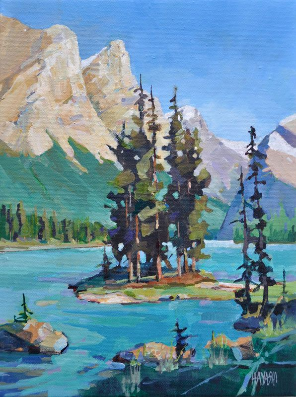 Randy Hayashi Spirit Island Impression Jasper National Park Maligne Lake Abstract Landscape Painting Landscape Art Landscape Paintings
