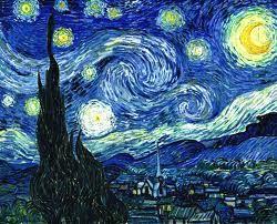 El cuadro muestra la vista exterior durante la noche desde la ventana del cuarto del sanatorio de Saint-Rémy-de-Provence, donde se recluyó hacia el final de su vida.