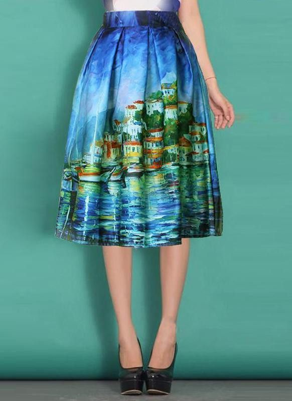 e4e9f24527d3f6 Vintage Castle Oil Painting A-Line Midi Bubble Skirt | Products in ...