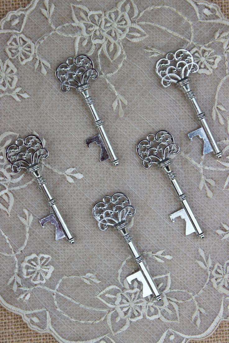 50 Key Bottle Openers - Silver Vintage Skeleton Keys - Classic,  #Bottle #Classic #Key #Keys #Openers #silver #Skeleton #Vintage #weddingfavorstagsbottleopeners