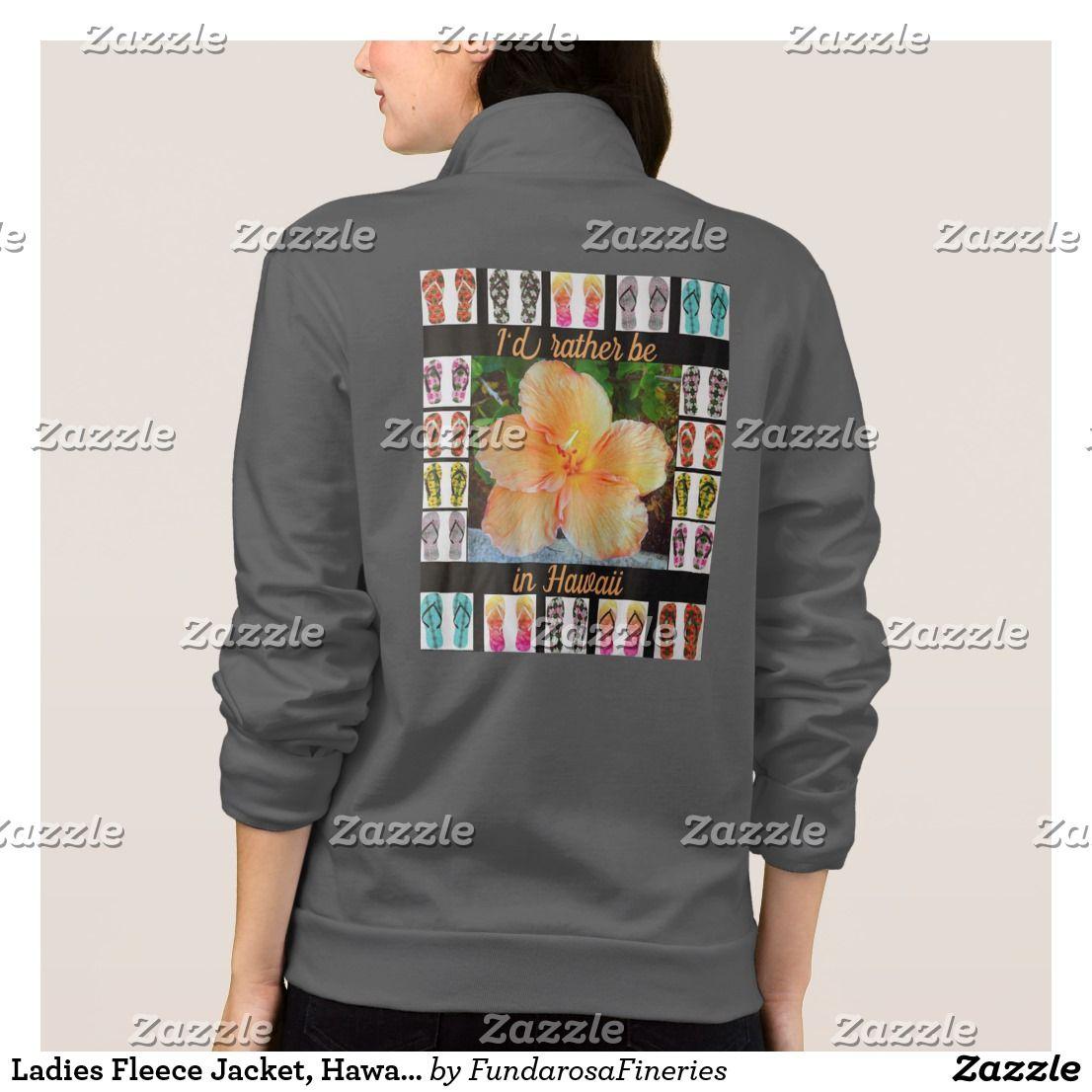 Ladies fleece jacket hawaiian tapestry design jacket fashion favz